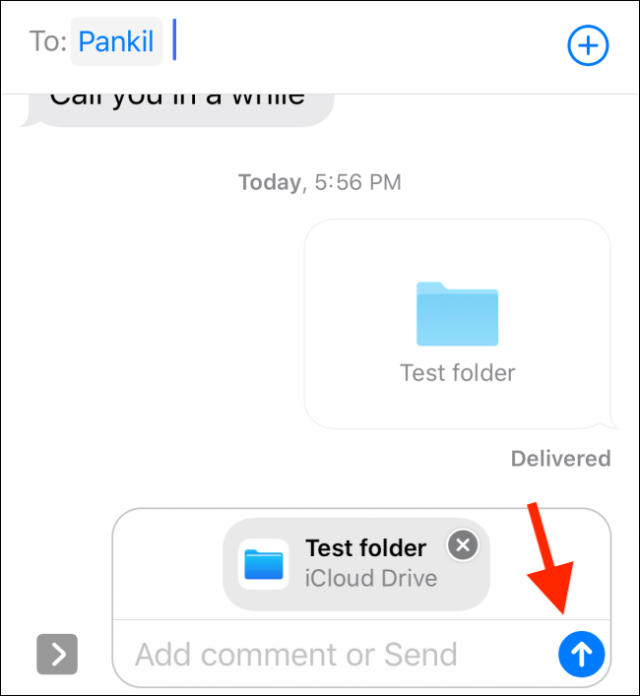 Press the Send button to share the folder