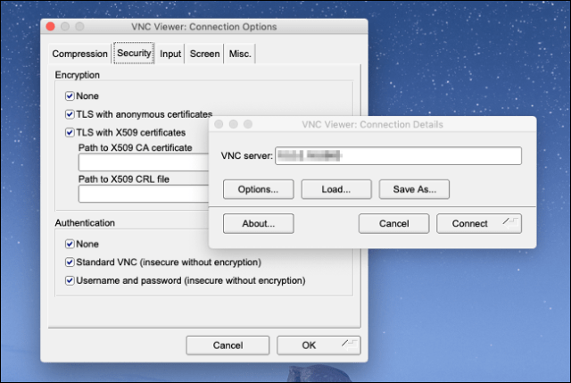 The TigerVNC Viewer menu on a Mac.