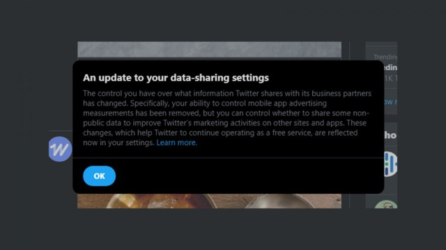 A notification specifying a change to the data sharing settings.