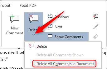 Delete all comments in the document