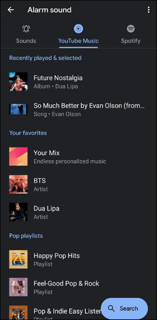 YouTube Music default alarms