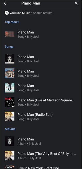 Music search on YouTube Billy Joel