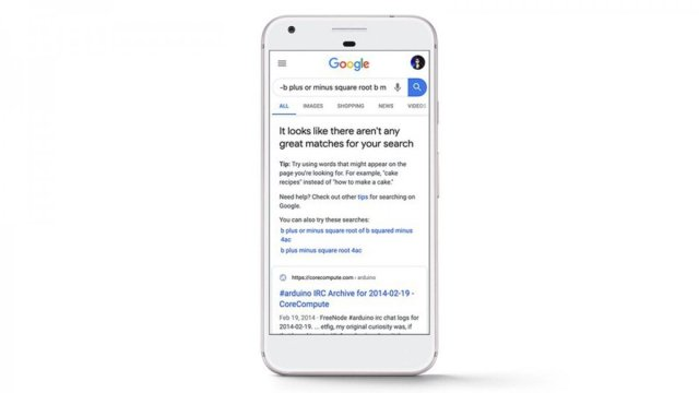 An iPhone with a message from Google warning of poor search results.