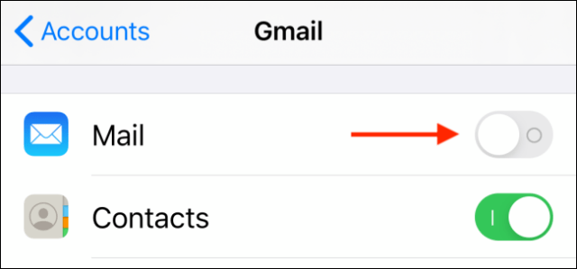 Tap toggle next to Mail