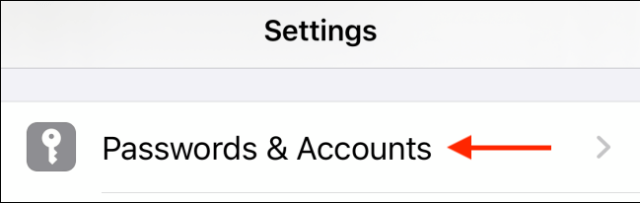 Tap Passwords and Accounts
