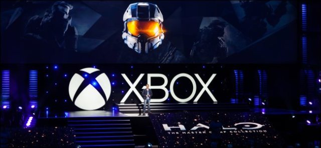Microsoft unveils Halo: The Master Chief Collection on an Xbox stage.