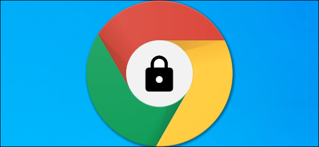 A Google Chrome logo with a lock icon in the middle.