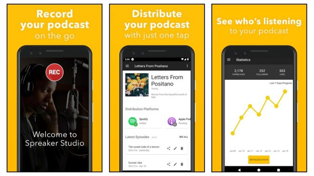 Spreaker app screenshots