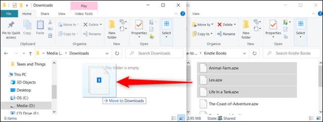 To move files to a folder on another drive, click and drag them, but before dropping them, press Shift.