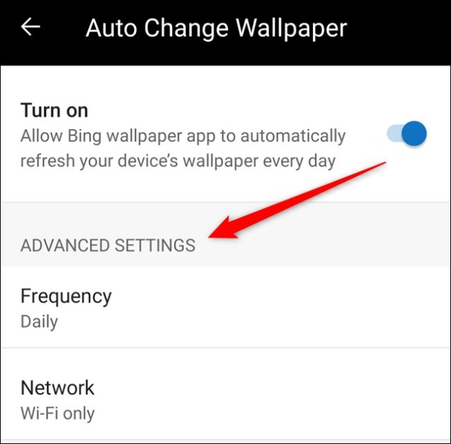 You can now customize the frequency and network preference settings for the automatic wallpaper.