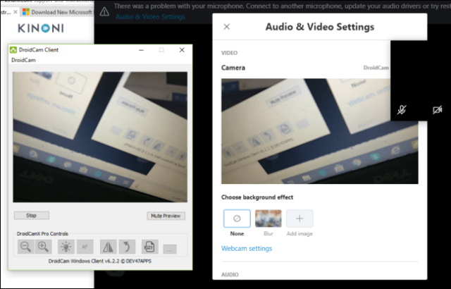The DroidCam client showing a preview of the camera of an Android phone.