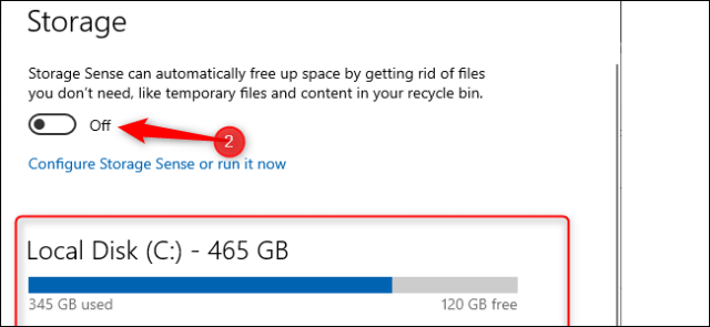 Windows 10 storage settings. A blue bar graph showing the amount of storage used