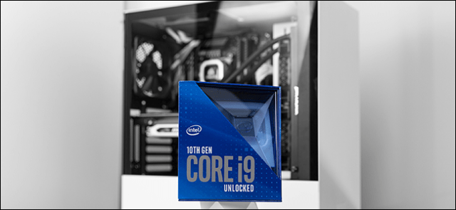 A Blue Intel 10th generation Core i9 Comet Lake package.