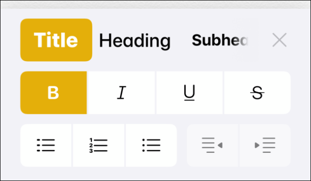 Formatting toolbar in the Notes application