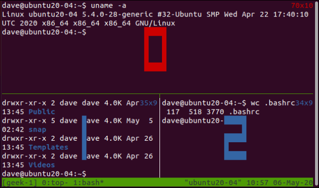 tmux displaying the shutter numbers in a terminal window.