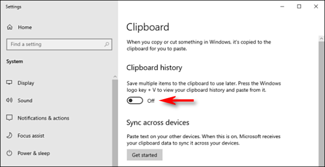 Click the clipboard history switch in Windows 10 system settings to turn it off