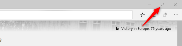 Exit the full screen mode of the original Microsoft Edge browser with a mouse.