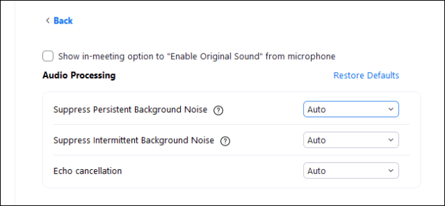 Zoom in on the background noise options in its Settings window.