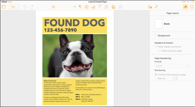 IWork Pages on Mac