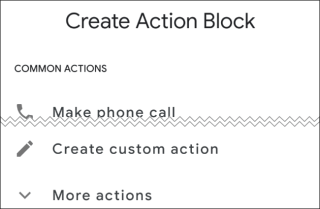 Android action blocks screen Create action block