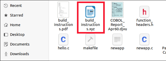 OpenDocument file correctly identified in the Files file browser, even if its extension is XYZ.