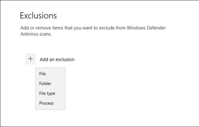 Exclusion types menu in Windows Security for Windows 10