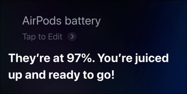 Using Siri to check the AirPod battery on iPhone