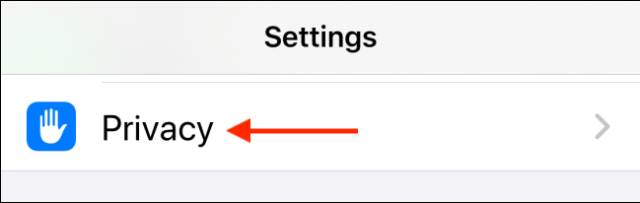 Tap Privacy in the settings