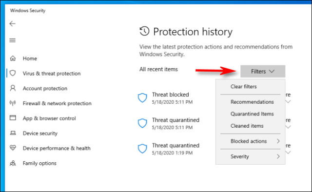 Click on filters in the protection history on Windows 10