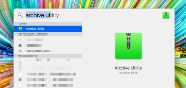 Search the archive utility in Spotlight search