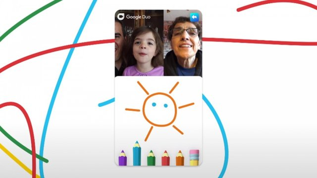 A screenshot of the new family mode of Google Duo