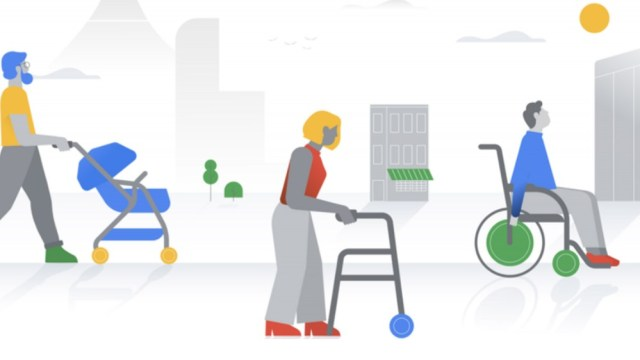 Google accessibility illustration --- man with stroller, woman with walker, man in wheelchair