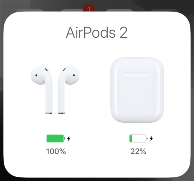 AirPods connection panel showing battery information on iPhone