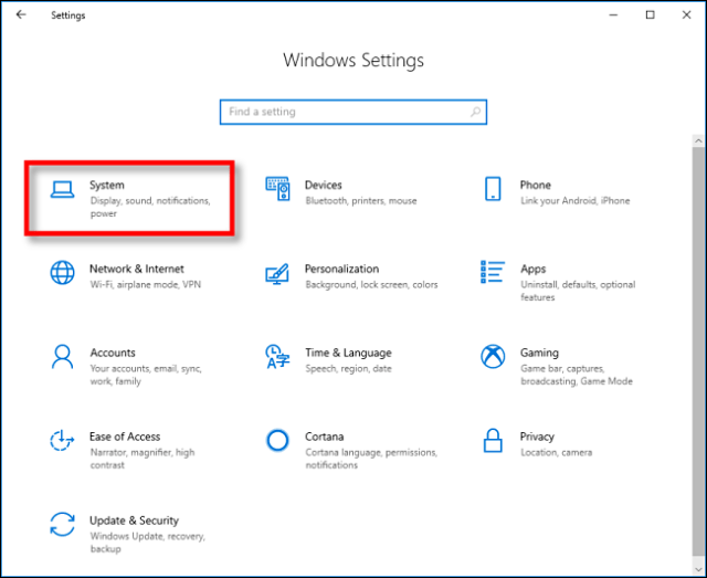 Click System in the settings on Windows 10