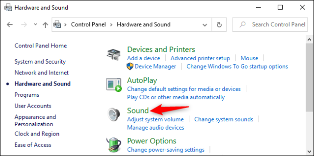 Opening sound options in Windows 10 control panel