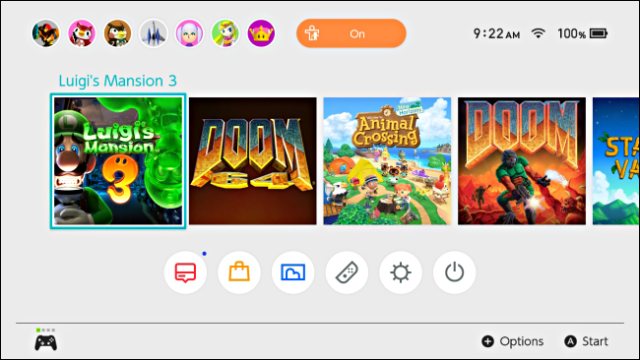 A game is highlighted with the cursor on the Nintendo Switch home screen