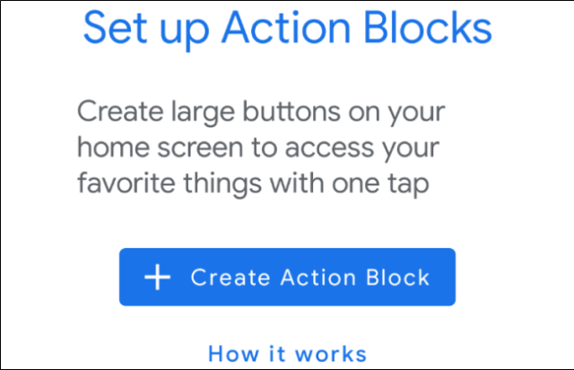 Android action block configuration screen