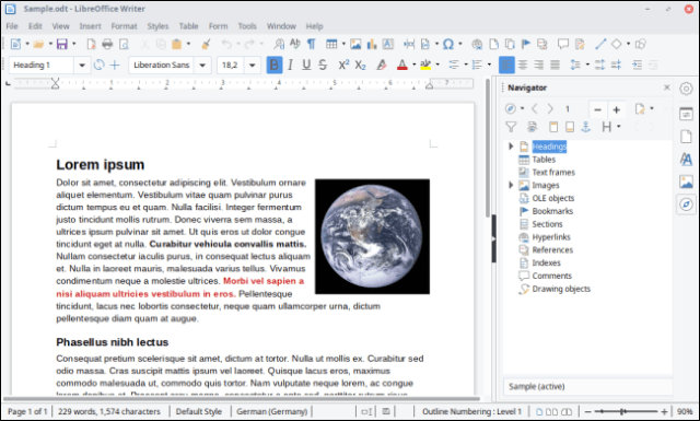 LibreOffice Writer interface