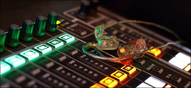 Personalized in-ear monitors on a digital mixing console.