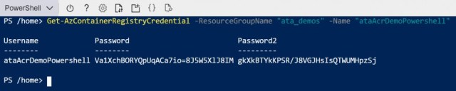 Use the Get-AzContainerRegistryCredential cmdlet to obtain the connection information.