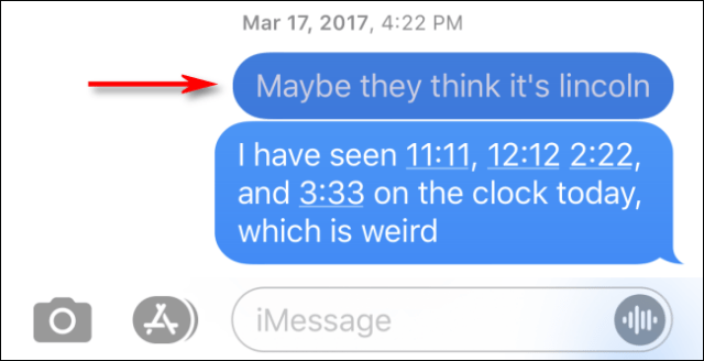 Search result seen in a conversation in Messages for iPhone