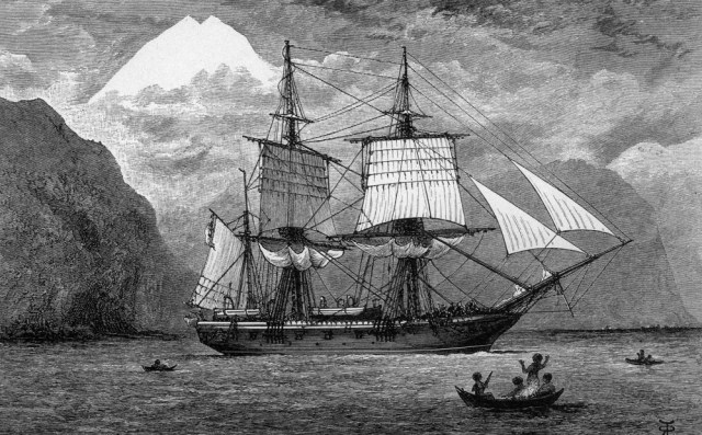 An engraving of the SS Beagle in the Strait of Magellan.