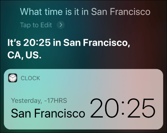 Siri results showing what time it is in San Francisco.