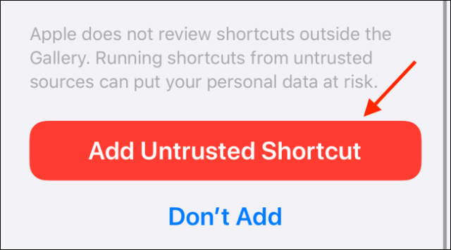 Tap Add unapproved shortcut