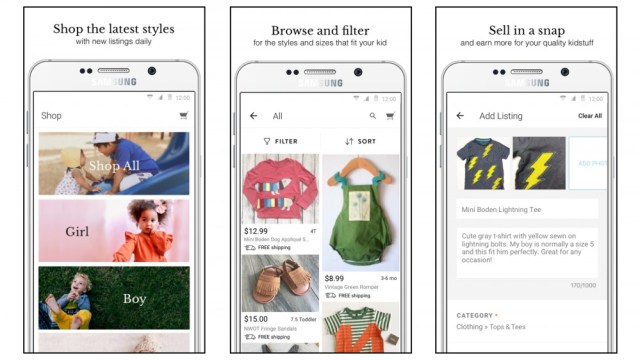 Children buy and sell used children's clothing online