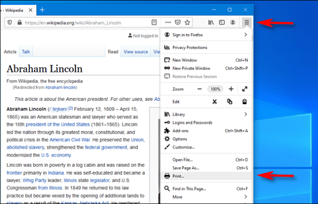 Click on the hamburger menu and print in Firefox on PC