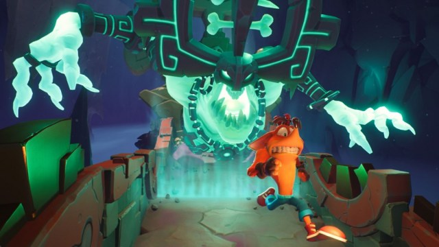 Crash runs from a skeleton monster in 'Crash 4: It's About Time'