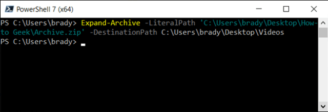 Unzip an archive with the Expand-Archive cmdlet.