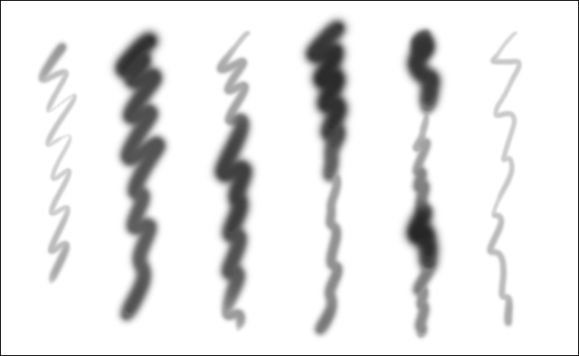 Six wavy lines created with the same brush in Photoshop using different pressure.