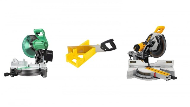 A Metabo miter saw, a GreatNeck miter box with hand saw and a DEWALT miter saw.